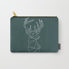 Geometric Stag (White on Slate) Carry-All Pouch