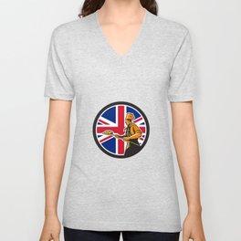 British Pizza Baker Union Jack Flag Icon Unisex V-Neck