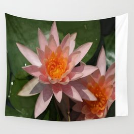 Beautiful Peach Waterlily Vector Wall Tapestry