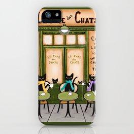 Les Cafe des Chats iPhone Case