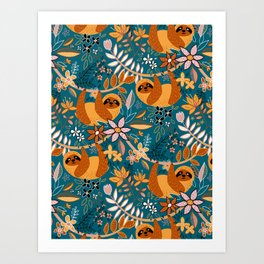 Happy Boho Sloth Floral Art Print