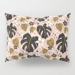 Distressed modern vintage Monstera and Pothos mashup  Pillow Sham