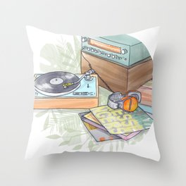 jazz vinyl day Throw Pillow