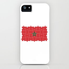 Autism Heart Jigsaw Puzzle of Moroccan Flag  iPhone Case