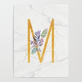 Modern glamorous personalized gold initial letter M, Custom initial name monogram gold alphabet prin Poster