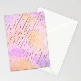 Pastels In Gold Stipes Stationery Cards