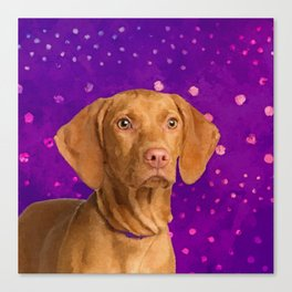 Vizsla  - Hungarian pointer puppy on purple Canvas Print