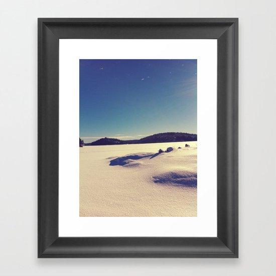 Kenisis Lake snow Framed Art Print