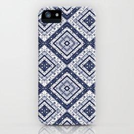 Strict , white blue ornament blue tile decoration moroccan arabic design iPhone Case