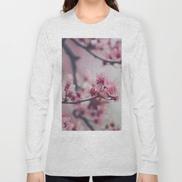 Pink Cherry Blossom On Branch Long Sleeve T-shirt