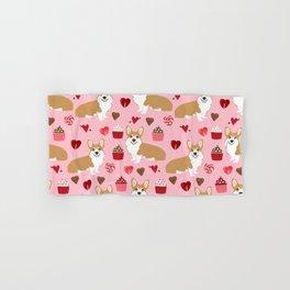 Corgi cupcakes valentines day cute love hearts dog breed corgi crew welsh corgis gifts Hand & Bath Towel