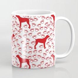 Big Red Dog and Paw Prints Coffee Mug