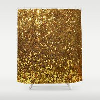 gold glitter Shower Curtains featuring GOLD GLITTER by I Love Decor