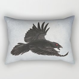 Black Crow Red Eyes and Sky Rectangular Pillow