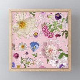 Pink Blue and Purple June Flowers Pastel Seamless Framed Mini Art Print