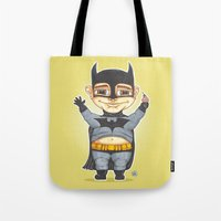 bats Tote Bags featuring Bats by Shiny Superhero