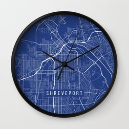 Shreveport Map, USA - Blue Wall Clock