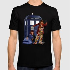 4th Doctor, Sarah Jane, K-9 and the TARDIS Mens Fitted Tee Black MEDIUM