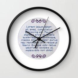 Lorum Ipsum Embroidery Sampler Wall Clock