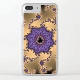 Elegant Purple Mandelbrot Fractal Print Clear iPhone Case