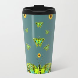 BLUE-GREEN-YELLOW PATTERNED MOTHS YELLOW SUNFLOWERS Travel Mug