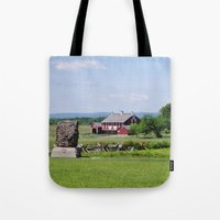 battlefield Tote Bags featuring Barn on the Battlefield by Scenic Sights by Tara
