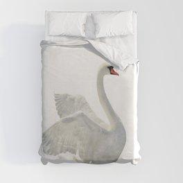 WHITE ON WHITE-BEAUTIFUL SWAN Duvet Cover
