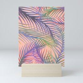 Palm Leaves Pattern - Purple, Peach, Blue Mini Art Print
