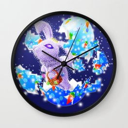 'You Cracked the Egg' Series - Easter Angelic Bunny with Premium Background Wall Clock