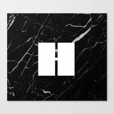 Black Marble - Alphabet H Canvas Print