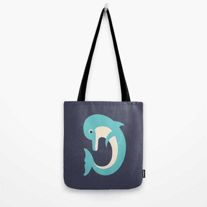 Letter D // Animal Alphabet // Dolphin Monogram Tote Bag
