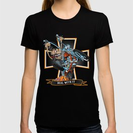 Deal with it -  funny biker riding a chopper, popping a wheelie motorcycle cartoon T-shirt