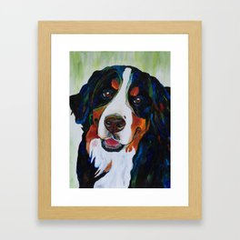 Colorful Bernese Mountain Dog Framed Art Print