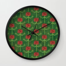 Spring Roses Pattern Wall Clock