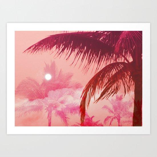 Tropical Pink Sunset Art Print