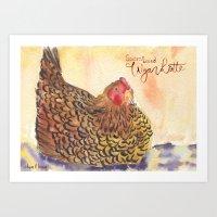 Golden Laced Wyandotte Hen Art Print