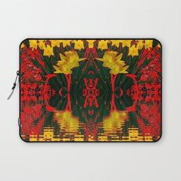 MODERN GARDEN DECORATIVE RED YELLOW DAFFODILS Laptop Sleeve
