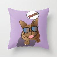 bacon Throw Pillows featuring BACON! by Salina Ayala