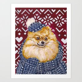 Pomeranian in a Hat and Scarf Art Print