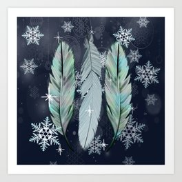 Feathers in the Winter Sky with Snowflakes Art Print