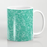 aviation Mugs featuring Schoolyard Aviation Green by Dianne Delahunty