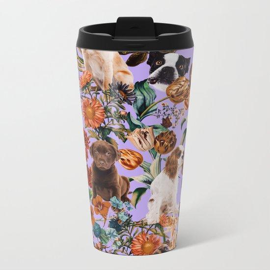 Dog and Floral Pattern Metal Travel Mug