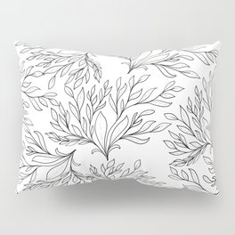 Modern hand painted black white floral leaves Pillow Sham