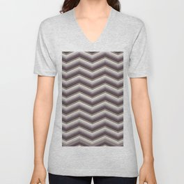 Geometrical ivory gray purple modern chevron Unisex V-Neck