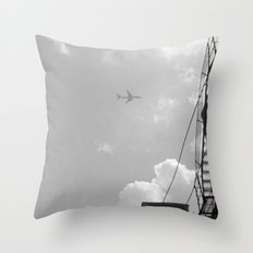 Leaving On A Jet Plane ~ black and white Throw Pillow