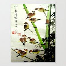 nine sparrows Canvas Print