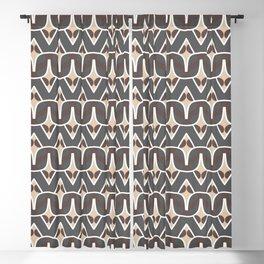 BAOBAB - abstract ethnic boho pattern tan chocolate brown grey Blackout Curtain