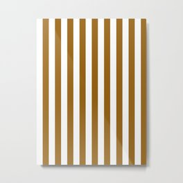 Narrow Vertical Stripes - White and Golden Brown Metal Print