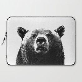 Black and white bear portrait Laptop Sleeve