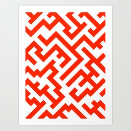 White and Scarlet Red Diagonal Labyrinth Art Print